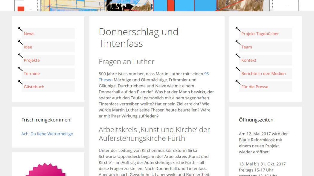 Neue Website für das temporäre Kunstprojekt Blauer Reformkiosk