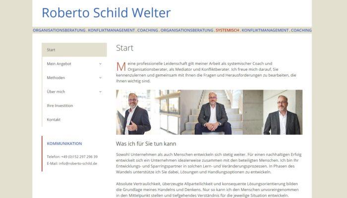 Stilvolle Klarheit und eine exzellente Struktur zeichnen die Website unseres Kunden Roberto Schild Welter aus.