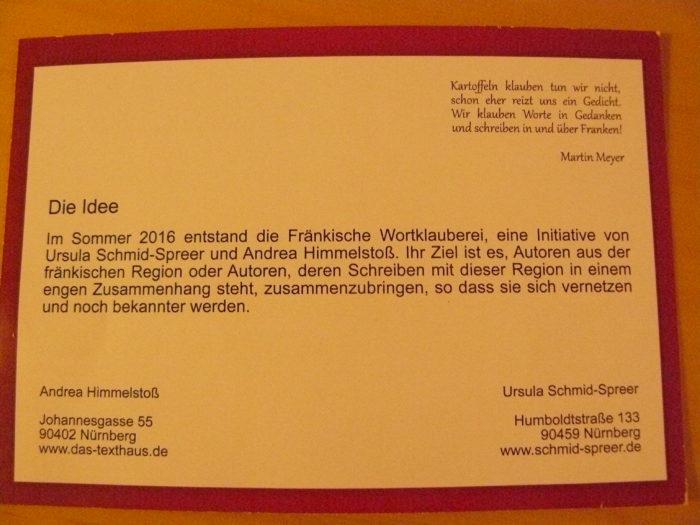 Flyer im Postkartenformat zu den Fränkischen Wortklaubern - Rückseite