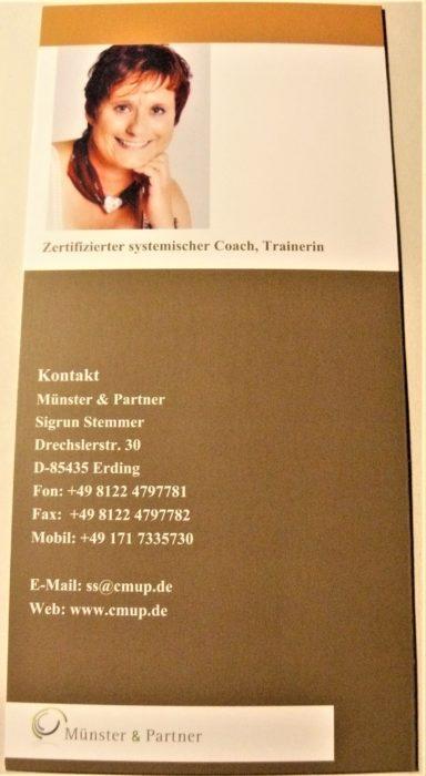 Vierseitiger Flyer zur Information über ein Angebot zu Coaching und Training - Rückseite