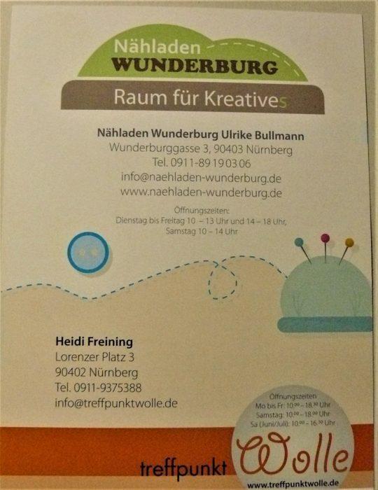 Rückseite des Flyers als Handzettel des Nähladens Wunderburg