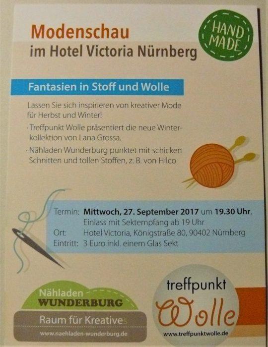 Vorderseite Flyer als Handzettel des Nähladens Wunderburg